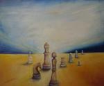 Kunstbild: Schachzug, Oel auf Leinwand