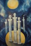 Kunstbild: Die Säulen der Erde, Oel auf Leinwand